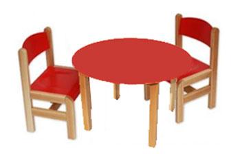 Kącik dla dzieci - stolik okrągły czerwony