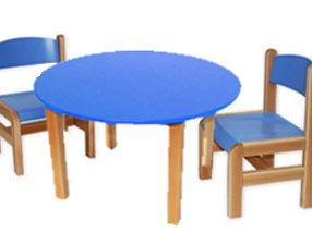 Kącik dla dzieci - stolik okrągły niebieski