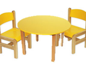 Kącik dla dzieci - stolik okrągły żółty